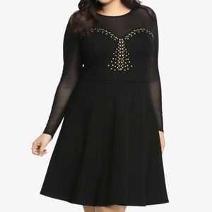Black Dress with Mesh Long Sleeves